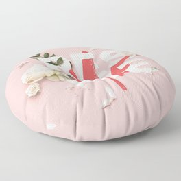 RESCUE ME | Digital typography floral poster pink Floor Pillow