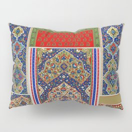 Indo-Persian pattern from Lornement Polychrome (1888) by Albert Racinet (1825-1893) Pillow Sham