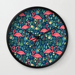 Flamingo Blue Pattern Wall Clock