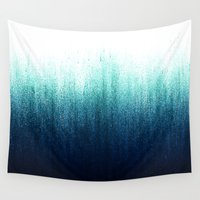 teal Wall Tapestries featuring Teal Ombré by Caitlin Workman