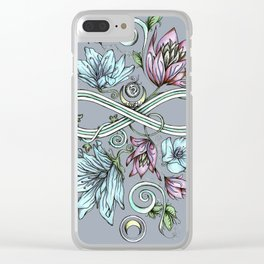 Infinity Floral Moon Garden in Gray Clear iPhone Case