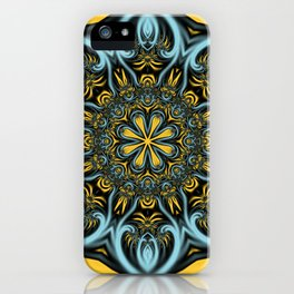 Gothic blue pattern iPhone Case