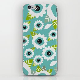 Abstract little flowers in blue iPhone Skin