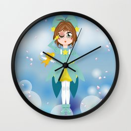 Mini Me Stars: Green Sakura Wall Clock