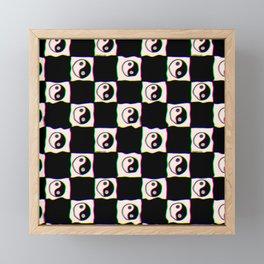 Smiley Yin Yang Checkered Print Framed Mini Art Print