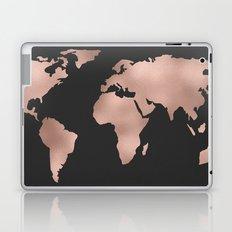 Rose Gold World Map on Dark Gray Laptop & iPad Skin