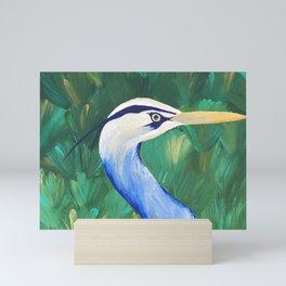 Heron in the Grass Mini Art Print