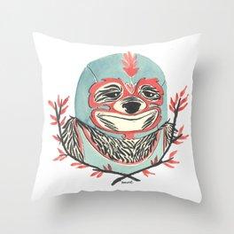 LuchaSloth Throw Pillow