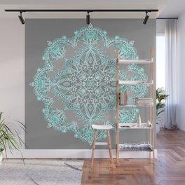 Teal and Aqua Lace Mandala on Grey Wall Mural