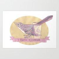literary Art Prints featuring Literary drinks: Tequila Mockingbird by Ruben Alexander