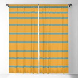 Variable Stripes Minimalist Mustard Orange and Turquoise Blue Blackout Curtain
