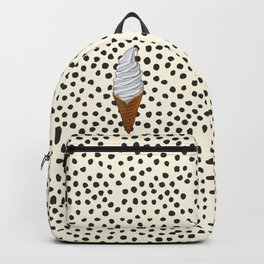 Vanilla Ice Cream Cone With Black Polka Dots - Neapolitan Collection Backpack