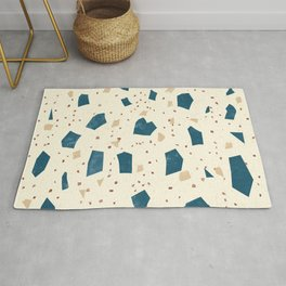 Custard Yellow Terrazzo - Blue Speckles - Abstract Granite Marble Texture Rug