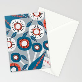 Modern florals in red and blue Stationery Cards