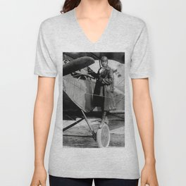 Bessie Coleman, First African-American and Native American Woman to hold a pilot license  Unisex V-Neck