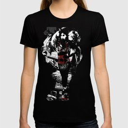 Ornamental Pinup in Black, White, and Red T-shirt