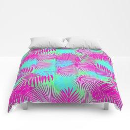 Neon Pink & Blue Tropical Print Comforters