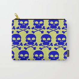 Skull Crazy- blue on green Carry-All Pouch