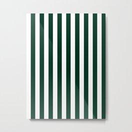 Narrow Vertical Stripes - White and Deep Green Metal Print