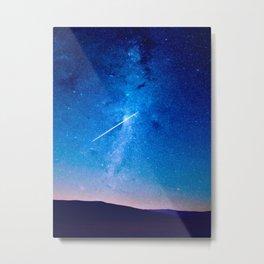 distant milky way galaxy at night beautiful night sky shooting star Metal Print