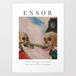 James Ensor - Skeletons Fighting Over a Pickled Herring - Exhibition Poster Art Print