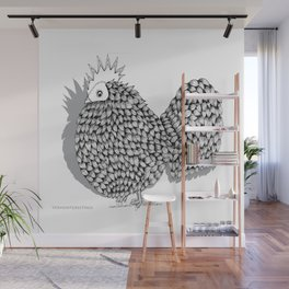 Zentangle  Funky Chicken Illustration Wall Mural