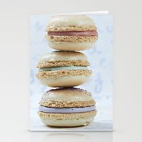 macaron Stationery Cards featuring Blue macaron by Nuria Esquina