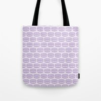 macaroon Tote Bags featuring Purple Macaroon Pattern - Lavender Macaron by French Macaron Art Print and Decor Store