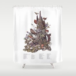 Stump (with labels) Shower Curtain