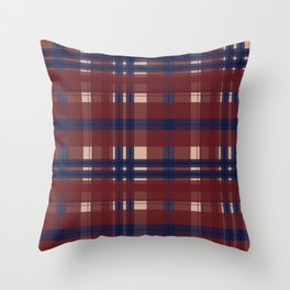 Plaid- Navy Red and Tan Throw Pillow