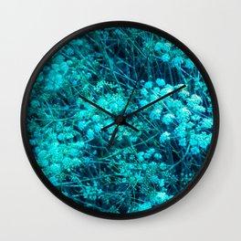 Blue-Green Compound Flower Wall Clock
