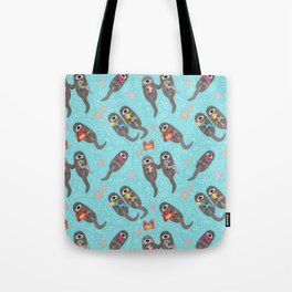 Otters Playing - Aquamarine Background Tote Bag