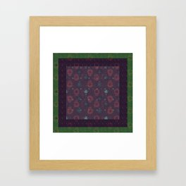 Lotus flower patchwork with green border, woodblock print style pattern Framed Art Print
