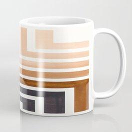 Raw Umber Mid Century Modern Watercolor Colorful Ancient Aztec Art Pattern Minimalist Geometric Patt Coffee Mug