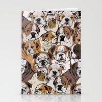 english bulldog Stationery Cards featuring Social English Bulldog by Huebucket