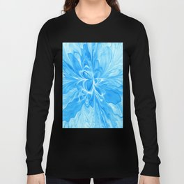 Blue Jeans Colors And White, Abstract Fractal Art Long Sleeve T-shirt