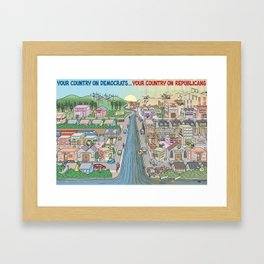 America on Democrats compare Republicans Framed Art Print