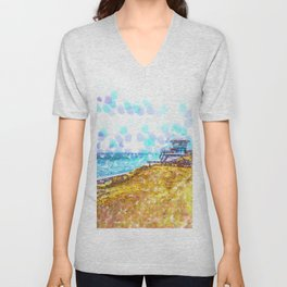 Life Guard Station On A Lonely Beach Unisex V-Neck