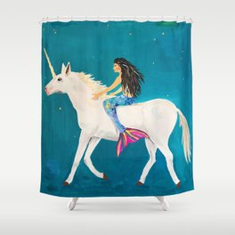 To the Land of Mermaids and Unicorns Shower Curtain