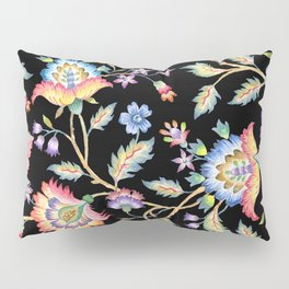 floral pattern black Pillow Sham