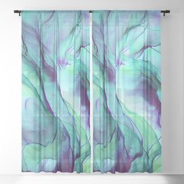 Violet Turquoise Flow - Alcohol Ink Painting Sheer Curtain