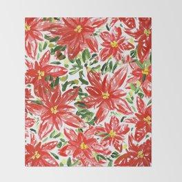 Pretty Poinsettias Throw Blanket