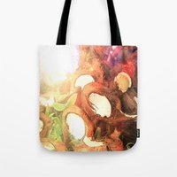 coconut wishes Tote Bags featuring COCONUT by Laura James Cook