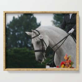 dressage in fall Serving Tray