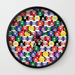 Billiards Pool Player Game Pattern Wall Clock