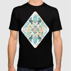 Abstract Painted Boho Pattern in Cyan & Teal Black LARGE Mens Fitted Tee