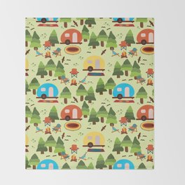 Caravan Campground Vacation Throw Blanket
