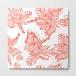 Tropical Palm Leaves Hibiscus Flowers Deep Coral Metal Print