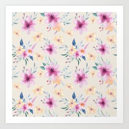 watercolor pastel floral Art Print