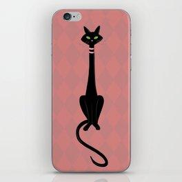Midcentury Modern Black Kitty Cat With Green Eyes iPhone Skin